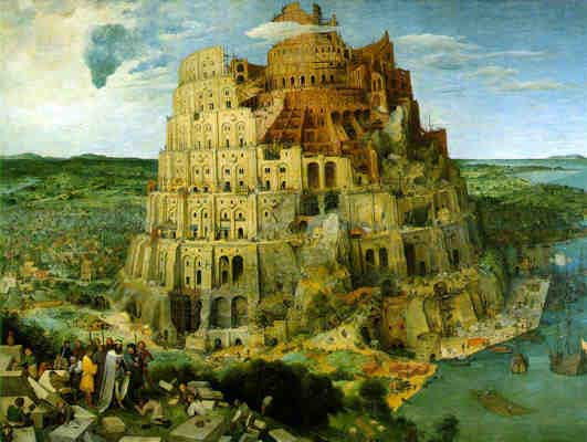 The building of the tower of Babel by Pieter Bruegel, 1563